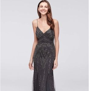 Beaded Mesh A-Line Gown with Godet Skirt